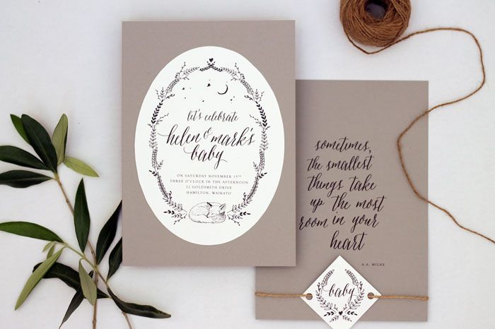 Just My Type Sleeping Woodland Fox Illustration Baby Shower invitation Stationery Suite