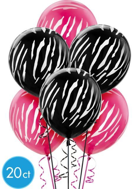 Latex Black & Pink Zebra Print Balloons - Party City (20 ct. 6.99)
