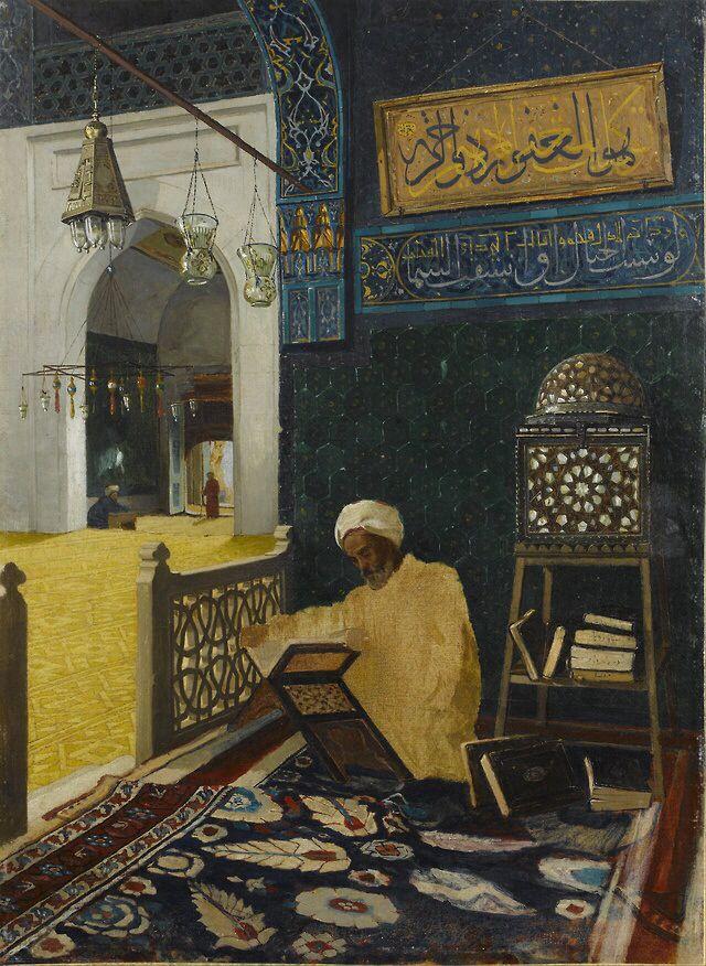 Osman Hamdi Bey - Reciting the Quran; Sakip Sabanci Museum, Istanbul, Turkey; 1910