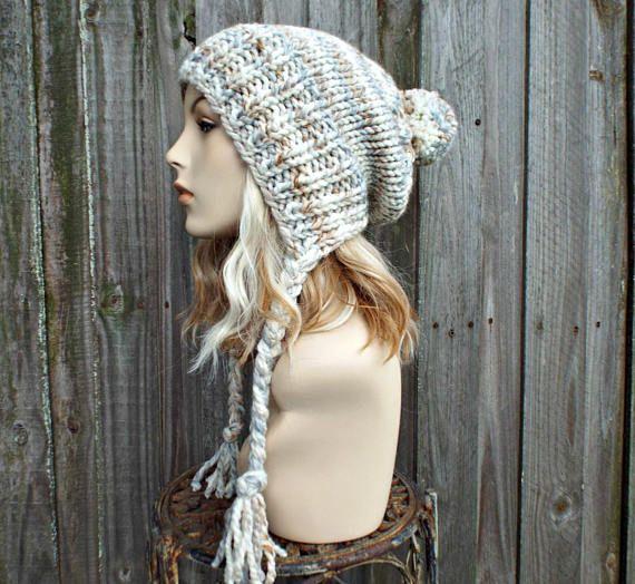 d6e9ad9dd8e Fossil - Grey Beige Slouchy Knit Hat Ear Flap Hat With Pom Pom - Knit Womens  Winter Beanie - Charlotte