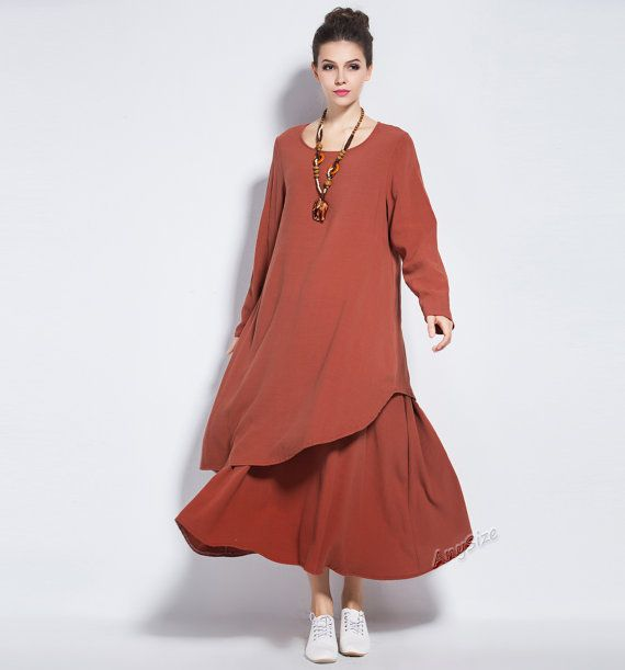 Any Size irregular soft linen dress plus size dress by AnySize
