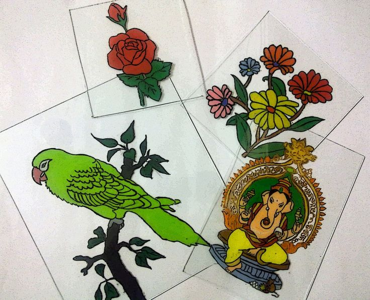 How to make a reverse glass painting art club for How to paint glass painting