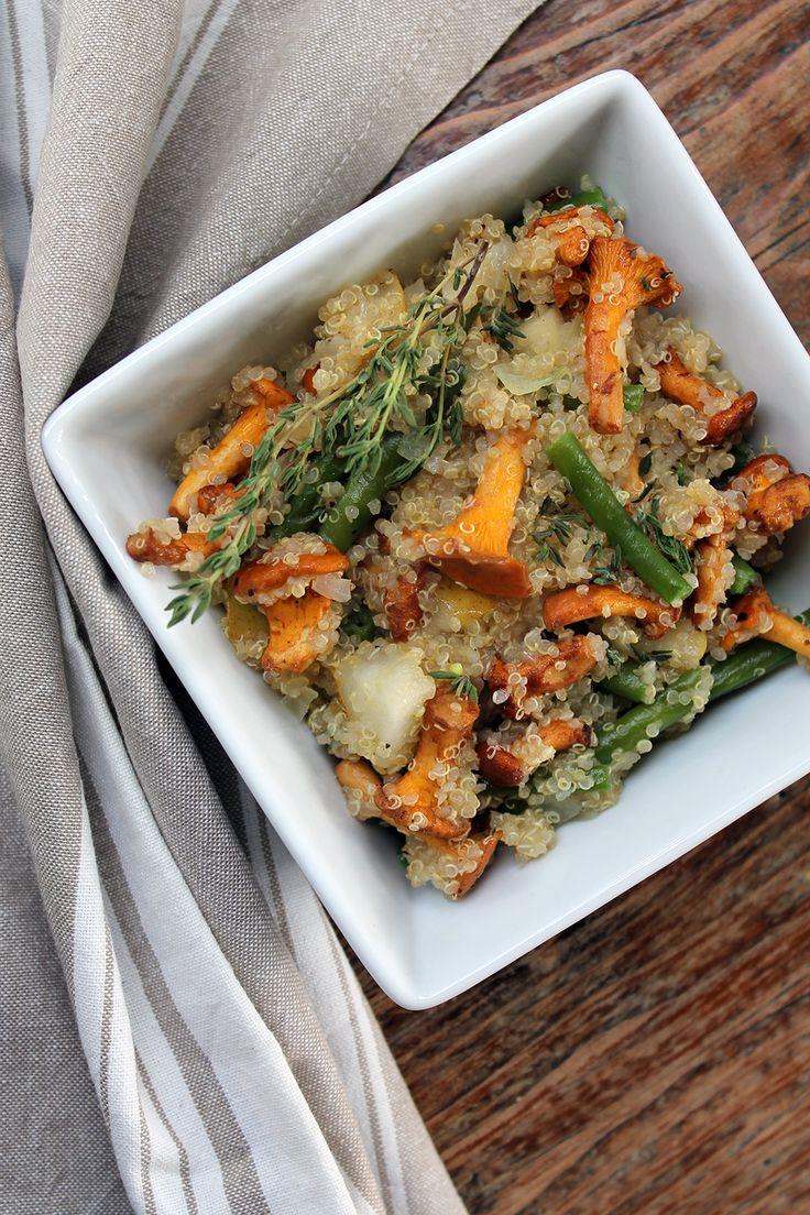 Quinoa mit Pfifferlingen, Bohnen und Birne - ein schnell zubereitetes und leckeres Clean-Eating-Gericht!