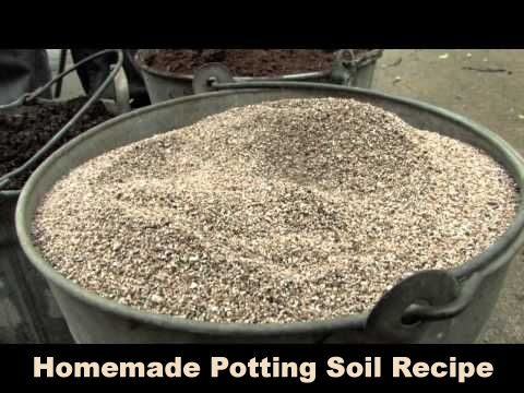 Homemade Potting Soil - 1 part each vermiculite, peat moss, and compost. Mix, add a bit of water, mix again.