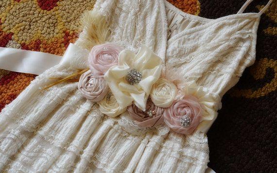 Vintage Inspired Wedding Dress SASH Wedding by KrumpetsDesigns, $86.50