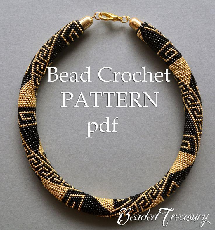 Bead crochet pattern necklace Greek Meanders / by BeadedTreasury