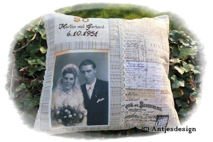 Gastgeschenke - Photo - Kissen zur silber/gold/diamant Hochzeit - ein…