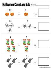 Preschool and kindergarten halloween math worksheet