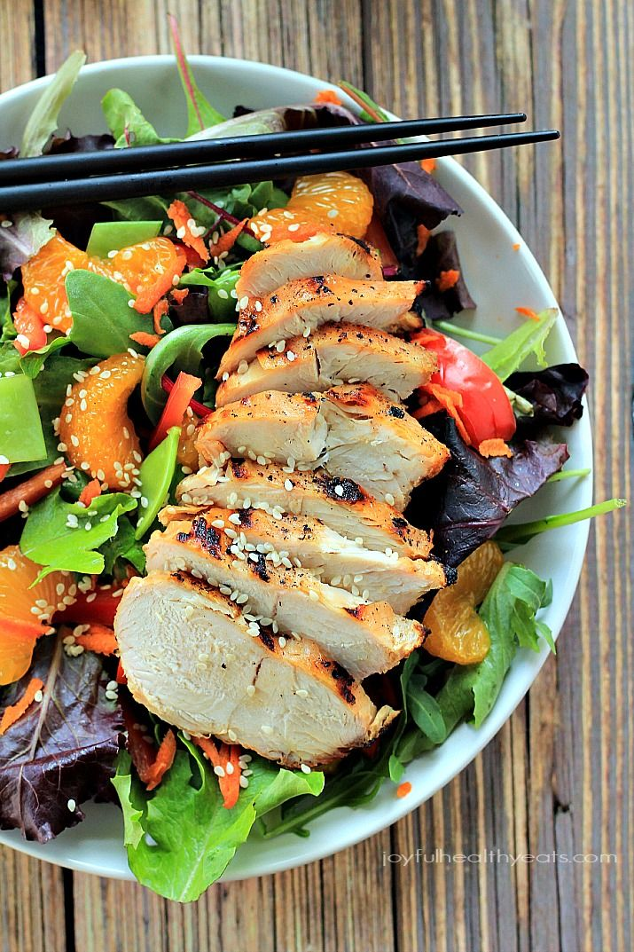 Skip the take-out make this healthy Asian Chicken Salad with Sesame Ginger Dressing in less than 30 minutes!   www.joyfulhealthyeats.com