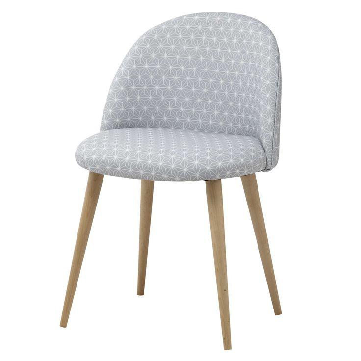 Chaise vintage en tissu étoiles gris et bouleau massif Mauricette