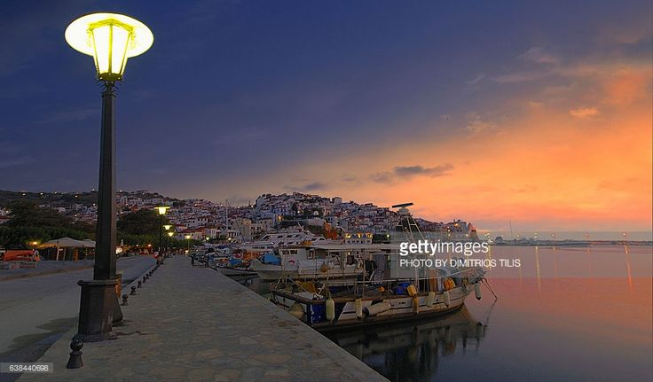 Very early in the morning at the port of Hora Skopelos