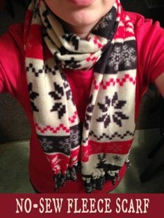 No Sew Fleece Scarf Tutorial - This 10 Minute Scarf makes a great gift!