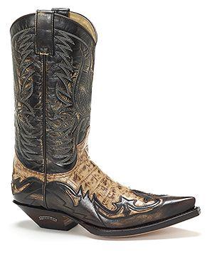 Botas en color marrón con detalle en tostado. Men's Sendra Western.