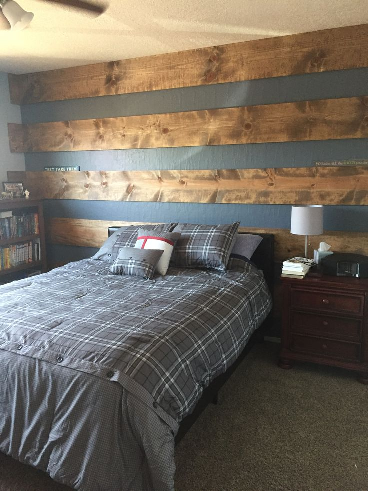 Wood Plank Accent Wall To Update Teenage Son S Room In