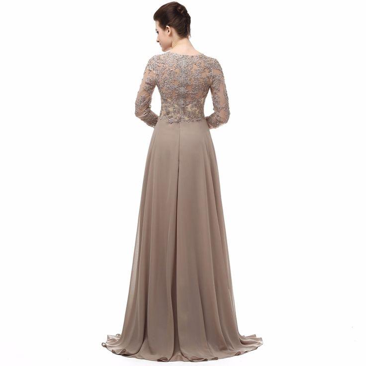 Elegant Long Sleeve A Line V Neck Chiffon Lace Beaded Long Maternity Evening Dresses 2015 Vestido. Click visit to buy #EveningDress #Dress