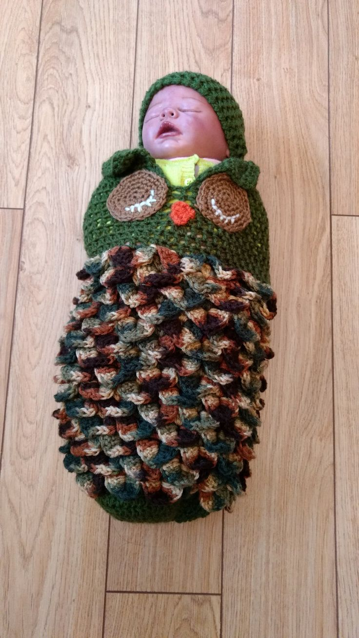 Baby Owl Cocoon, Preemie Cocoon and Hat, Camouflage Owl Cocoon by FamilyCrochetCabinet on Etsy