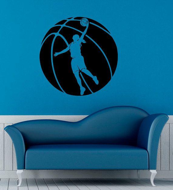 Baloncesto jugador pared Sticker cesta bola por BestDecalsUSA