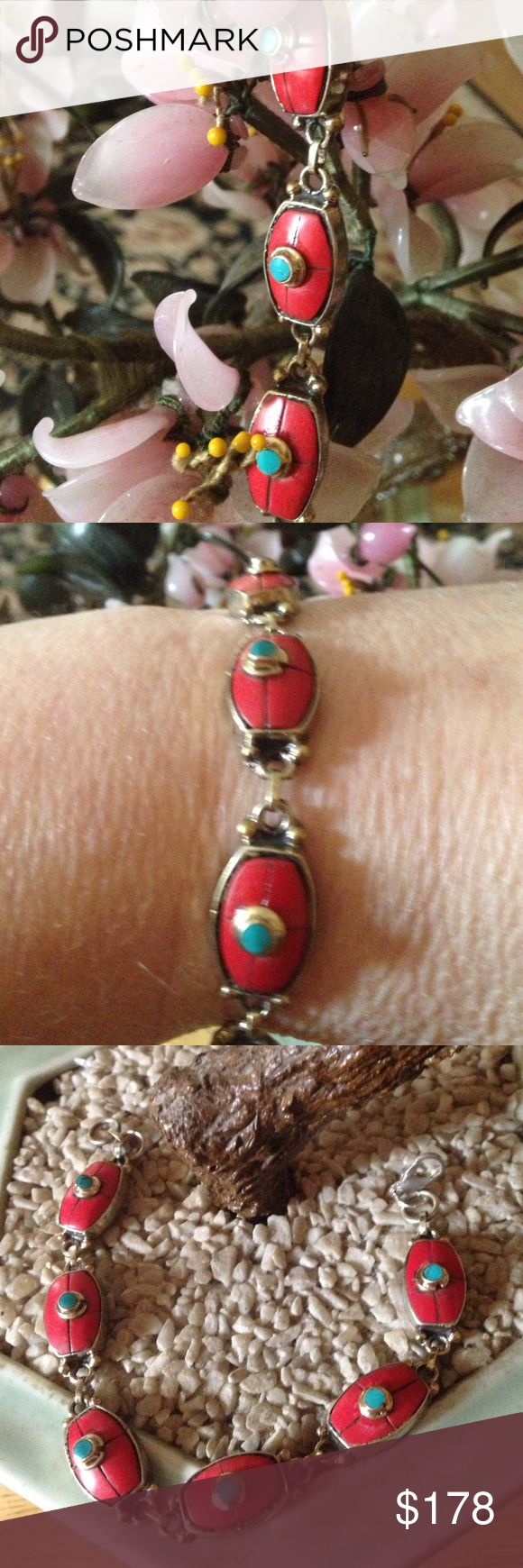Vintage red coral turquoise bracelet Gorgeous bracelet Vintage Jewelry Bracelets