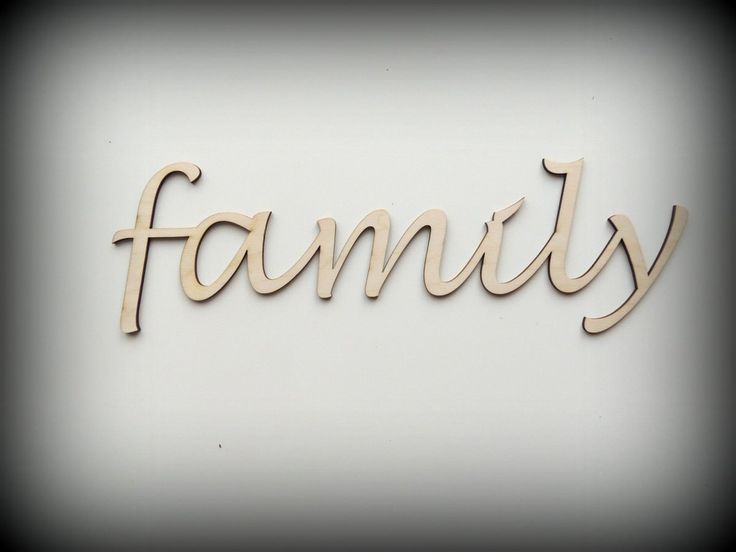 Wodden family sign, script letter, home decor by FECOsCreations on Etsy