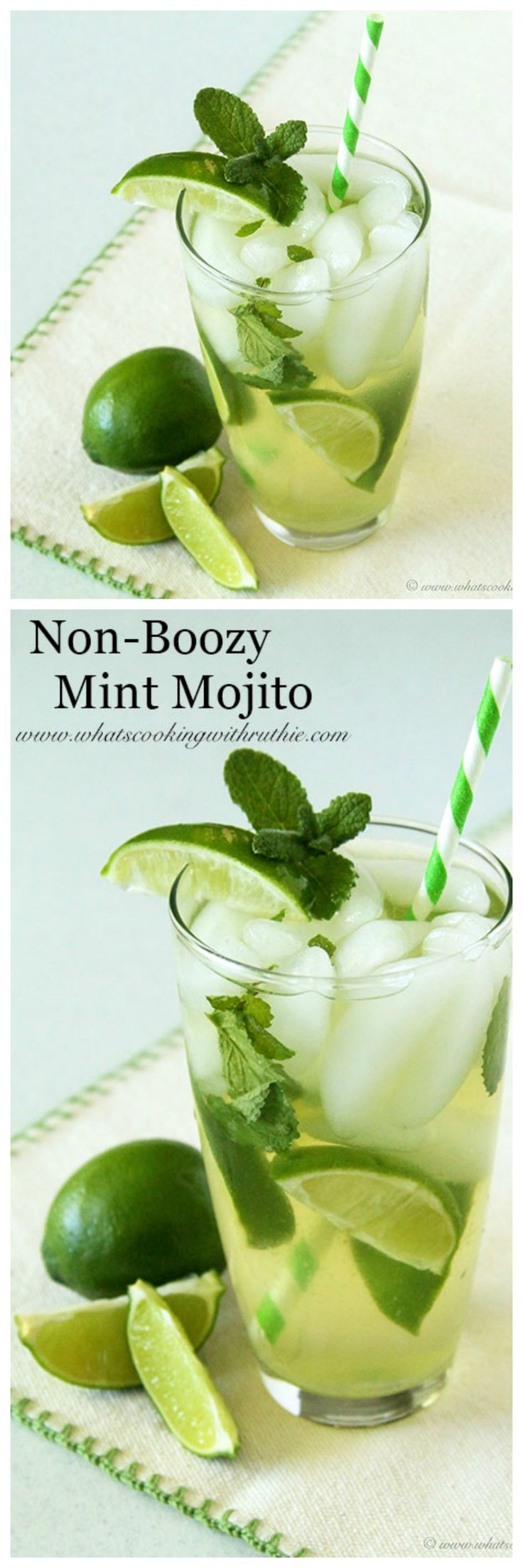 Non-Boozy Mint Mojito on www.cookingwithruthie.com will be the hit of any party!