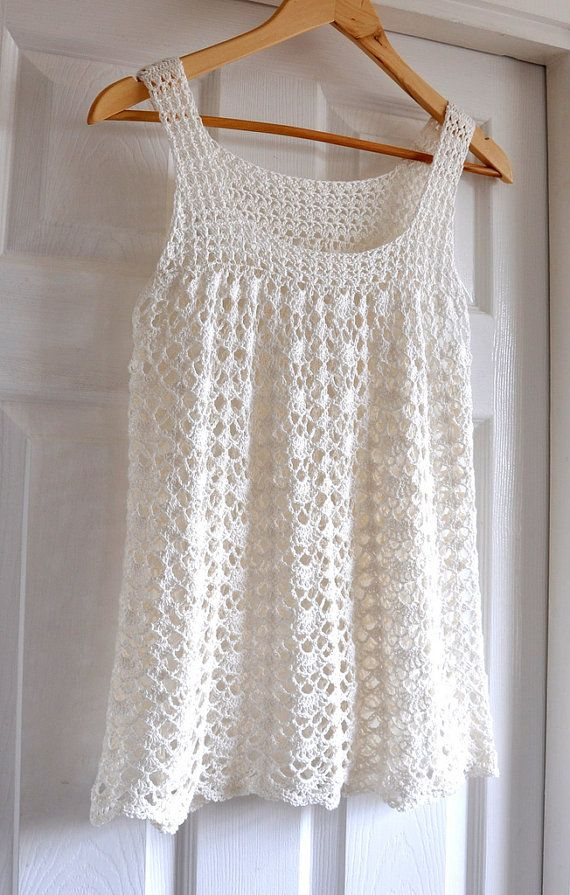 Encaje Crochet Top túnica verano sin mangas por IzabelaMotyl