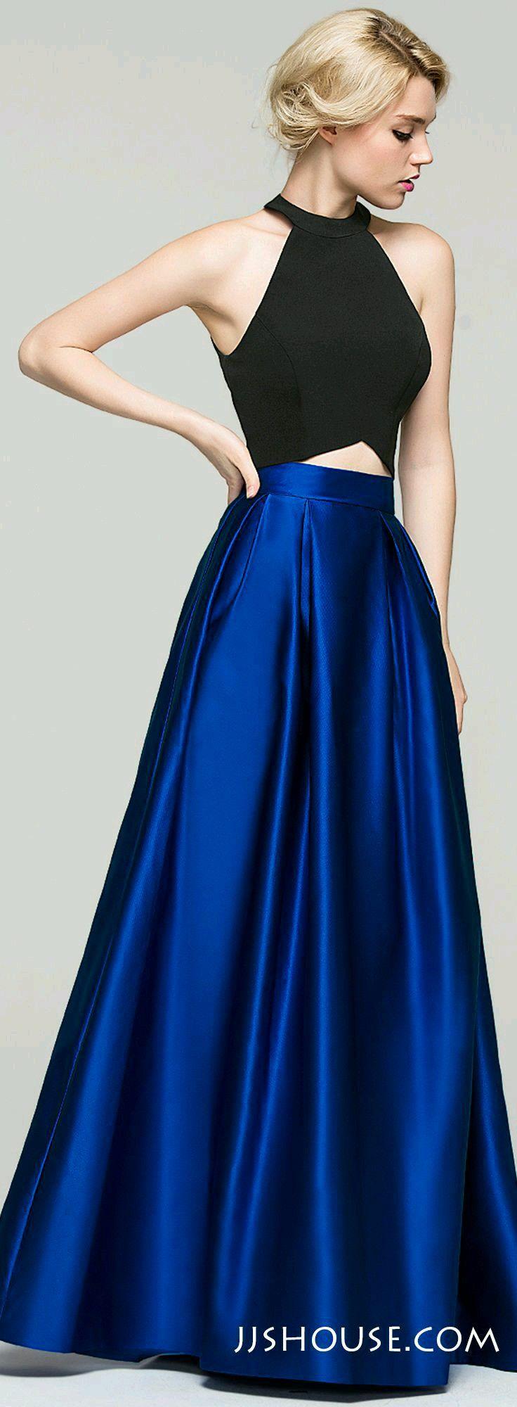 Crop top y falda larga, negro y azul, ideal para una graduación.