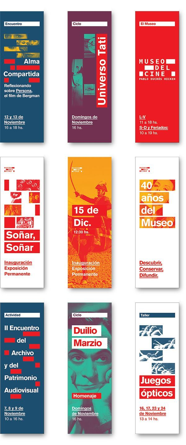 TP4Marca / Sistemas de Mediana ComplejidadDiseño de identidad para Museo del Cine, Pablo Ducrós Hicken.Marca, arquigrafía, evento temporario, señalética y desplegable.-Graphic Design IIProject done for college