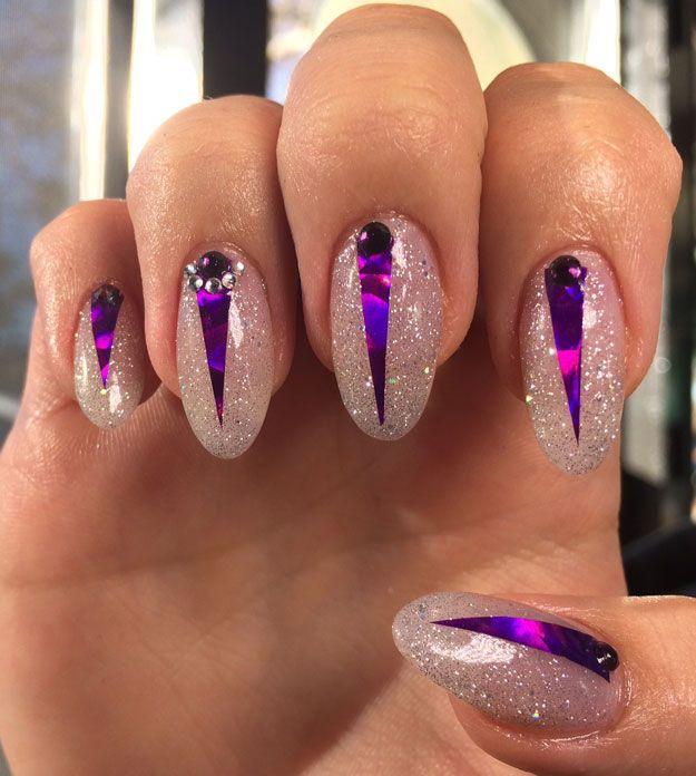 Prince Inspired Purple Nail Design by Lindsay Shannon   Nail Pro Magazine June 2016 Readers Nail Art Submissions, check it out at http://www.nailpro.com/nail-pro-62016-nail-art