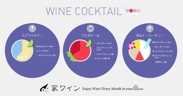 ワインベースのカクテルレシピを、赤ワイン、白ワイン、スパークリングワイン、ロゼワインに分けて紹介しています。ホットワイン、カリモーチョのような手軽なカクテルから、キティ、キール、スプリッツァーなどの本格カクテルまで、一覧で見ることができます。