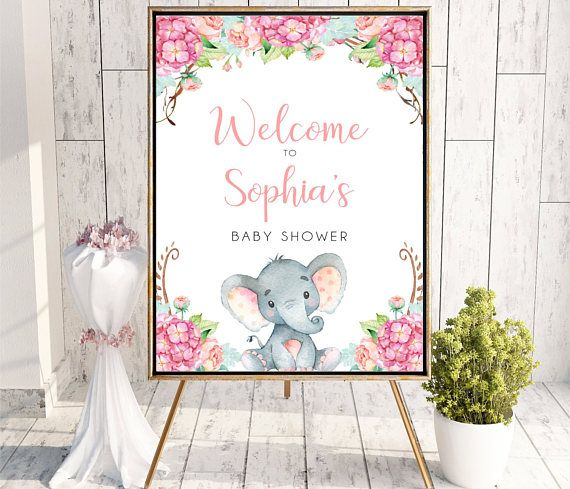 Girl Elephant Baby Shower Welcome Sign Watercolor Flowers
