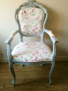 PRETTY FRENCH LOUIS XV SHABBY CHIC ANTIQUE LAURA ASHLEY DUCK EGG BLUE CHAIR!