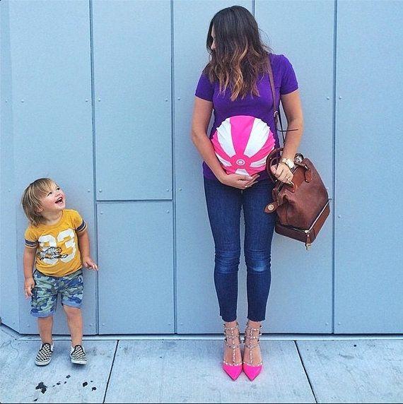 Purple Beachball Funny Maternity T-Shirt by Mamagama Pregnancy Store