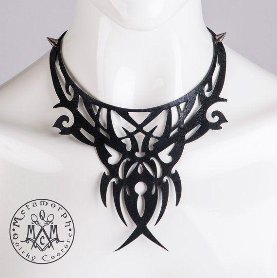 Leather bib necklace Cut out black leather filigree от MetamorphQC