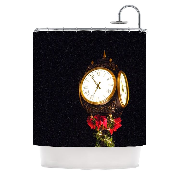 "Robin Dickinson ""Xmas Clock"" Seasonal Shower Curtain"