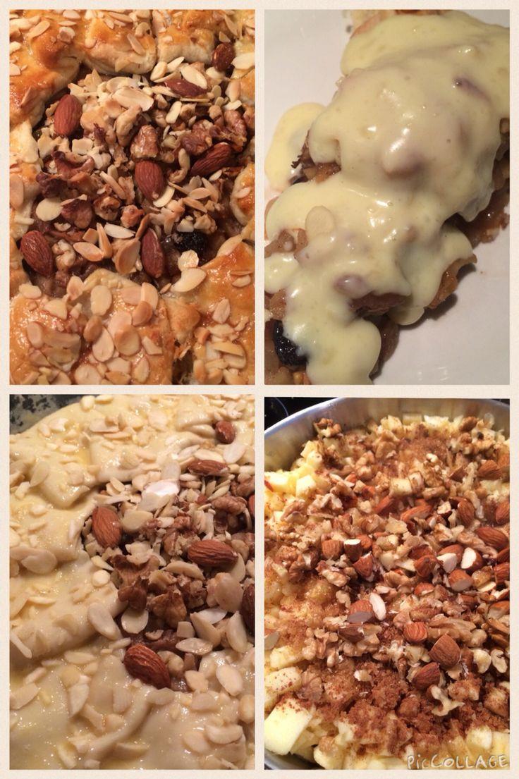 Crunchy apple pie with vanilla sauce  #almonds #nuts #raisins #cranberries #cinnamon #ginger #vannillsauce