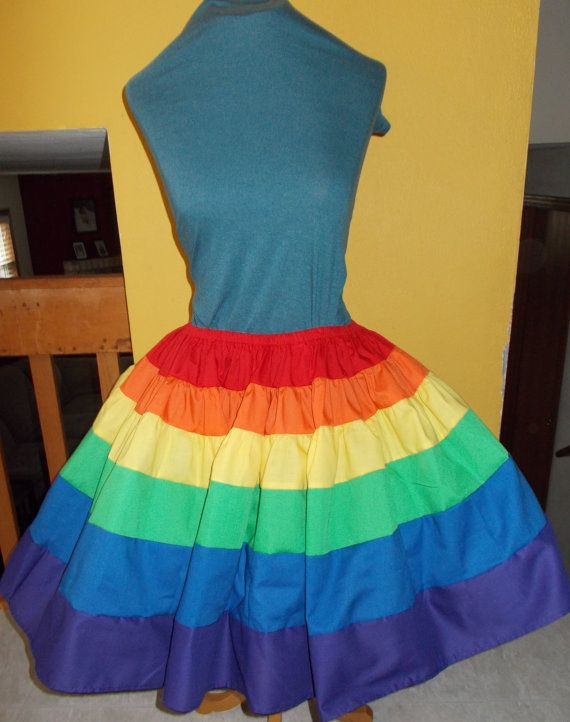 Perfect for Rainbow Bright Costume. Plus Size Custom Rainbow Petticoat Pettiskirt Adult by SewnbyJute, $54.99