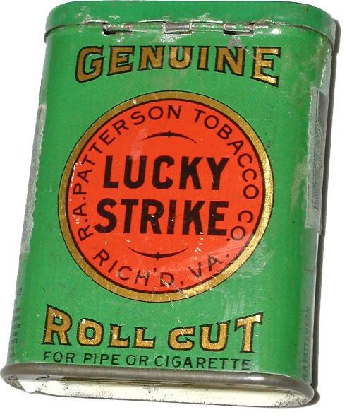 Lucky Strike Vertical Tin – This tin predates the 1920s redesign and while it still prominently features the R.A. Patterson name, the company by this point had already been purchased by American Tobacco Company.