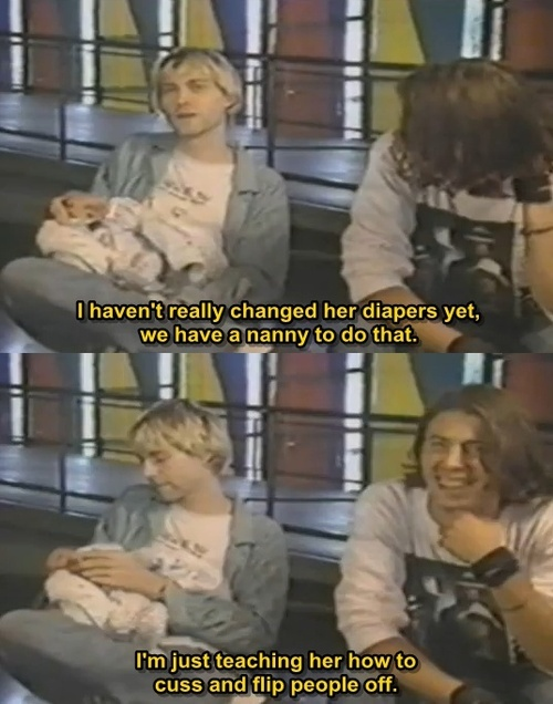 Kurt CoBain, Baby Frances, Dave Grohl. (not grohlkins, but awesome!)