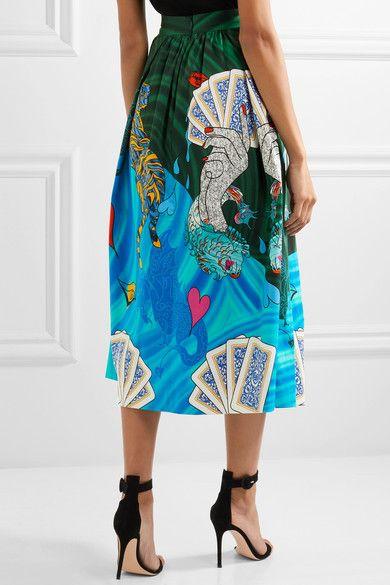 Mary Katrantzou - Bowles Printed Cotton-blend Midi Skirt - Blue