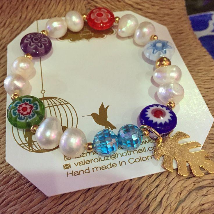 Pulsera perlas y murrinas by Luz Marina Valero Jewelry