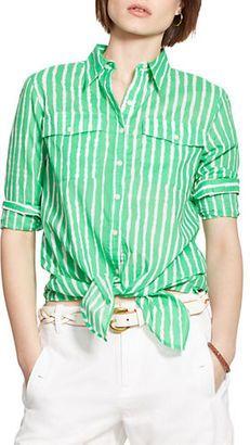 Lauren Ralph Lauren Striped Tied-Hem Voile Shirt - Shop for women's Shirt - Green/White Shirt
