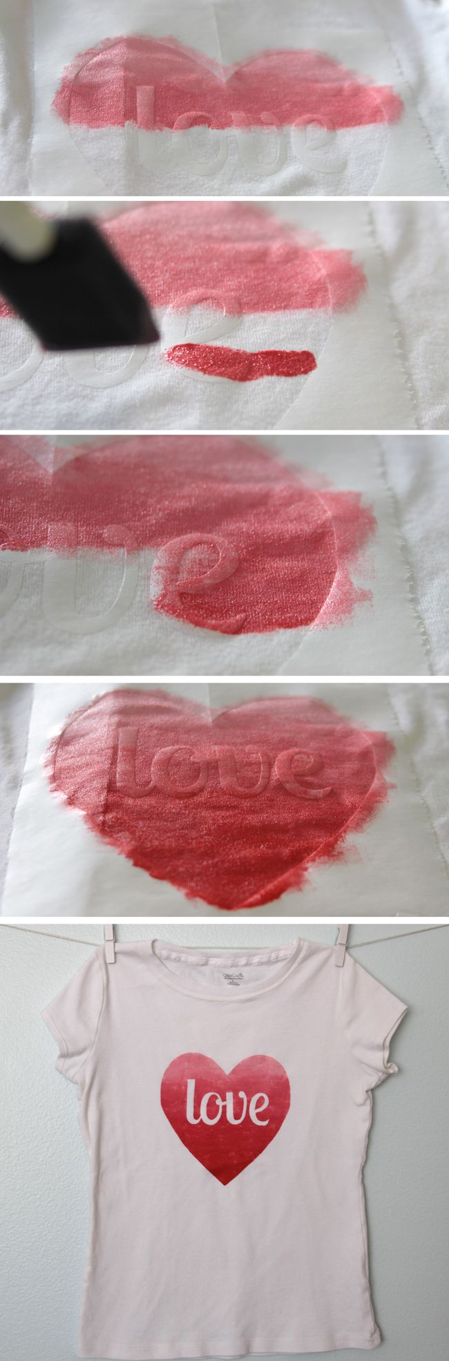 "Tweet Pin It Today's project is a very simple freezer paper stencil shirt – just a heart with the word ""love"" in the middle. I kept the design simple because I wanted to see if by mixing colors of fabric paint I could get an ombre effect on the heart. I mixed up five different …"
