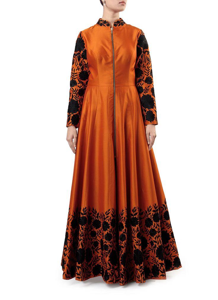 Rust Aisha Beig Floor Length Anarkali