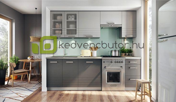 PAULA elemes konyhabútor 180-240 cm  Méretek: 180 - 240 cm Front színe: világosszürke matt / mocca Korpusz színe: platinum szürke Munkalap színe:  Üveg: Satinato