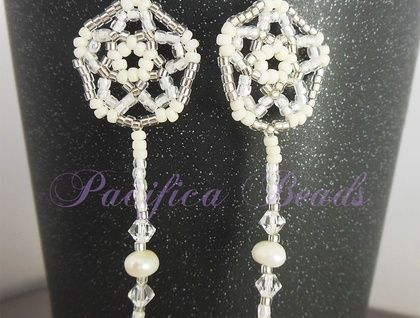 White shooting star beaded earrings-  freshwater pearls & Swarovski crystal accent glass seed beads. Sterling silver earwires.