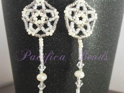 White shooting star beaded earrings-  freshwater pearls