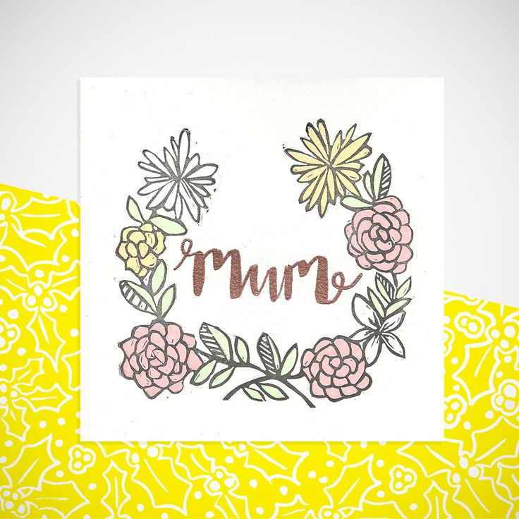 Floral mum greetings card. Blank inside for your own message. Mother's Day, birthday, celebration by YellowHolly on Etsy