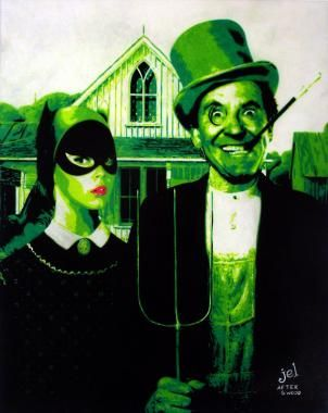 The old Batman TV series villians The Penguin and Catwoman parody the American Gothic farm couple.