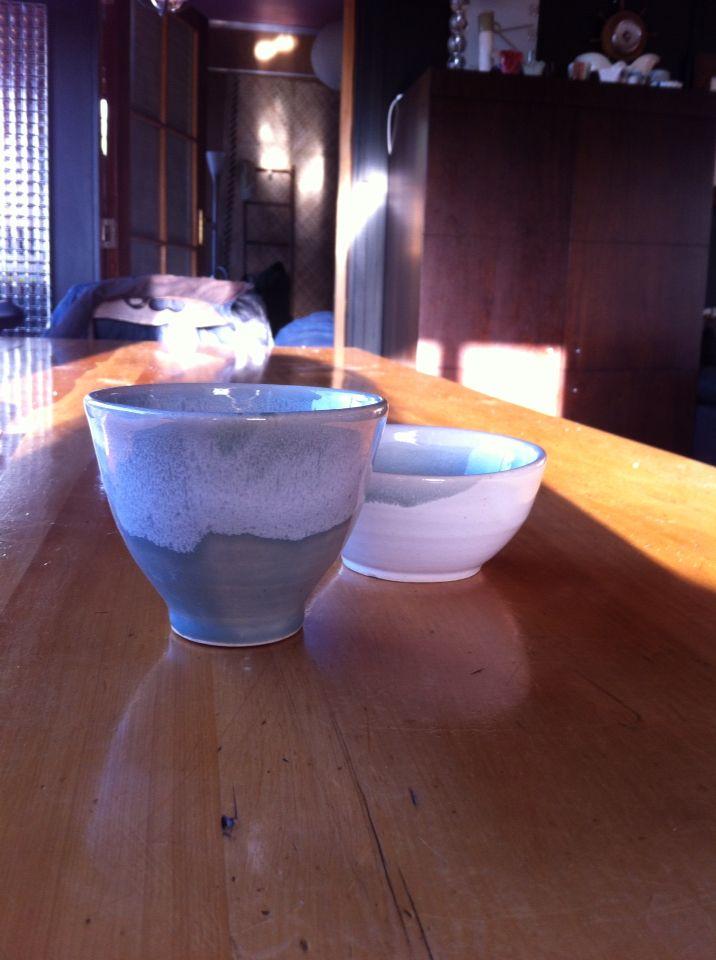Bowls made on wheel love the glaze!