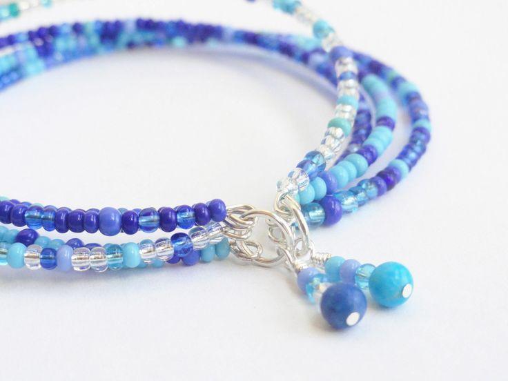 Blue Beaded Bracelet Seed Bead Multi Strand Criss Cross Turquoise